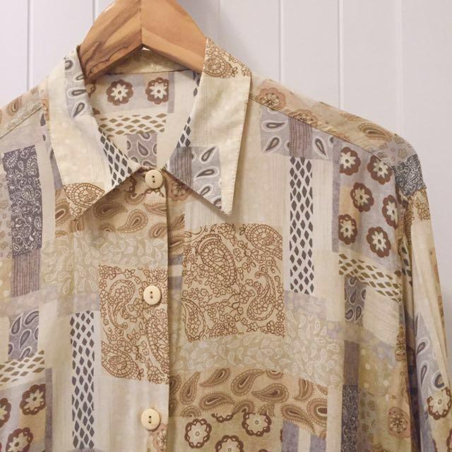 降價Σ( ̄。 ̄ノ)ノ義大利製古著典雅花襯衫 購於裊裊百貨