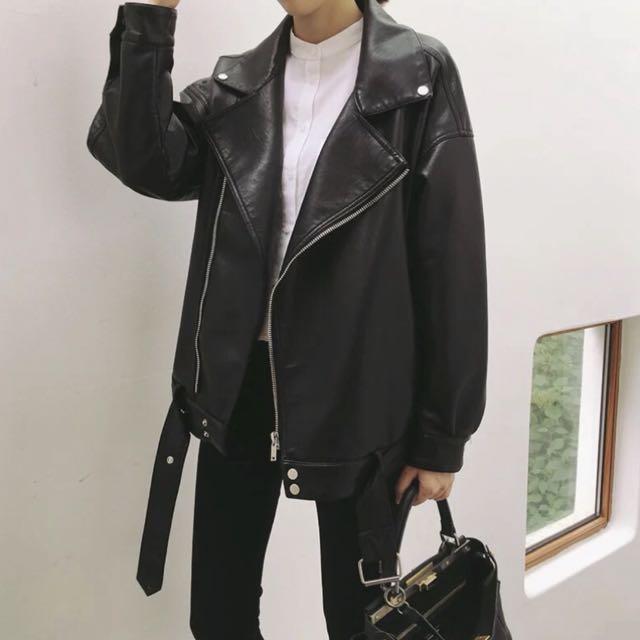 寬版 皮衣 黑色