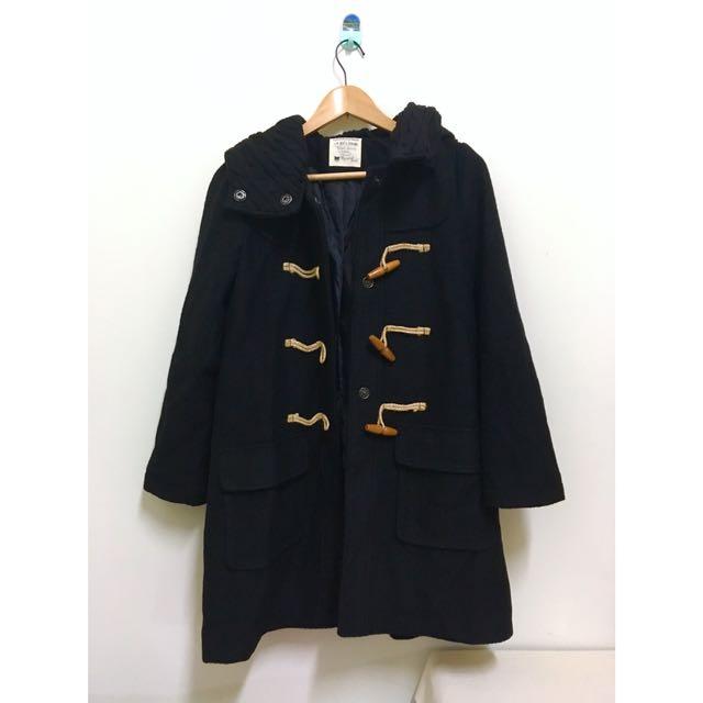 黑色 牛角扣外套 大衣 口袋 針織帽