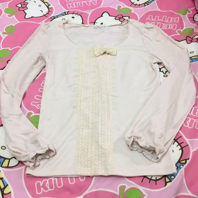 日本品牌 Willselection 嬰兒粉蕾絲公主袖上衣