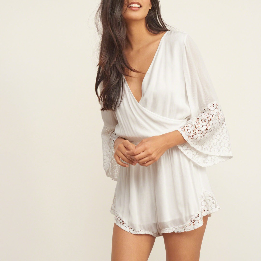 Abercrombie Fitch Lace Wrap Front Romper In White Womens