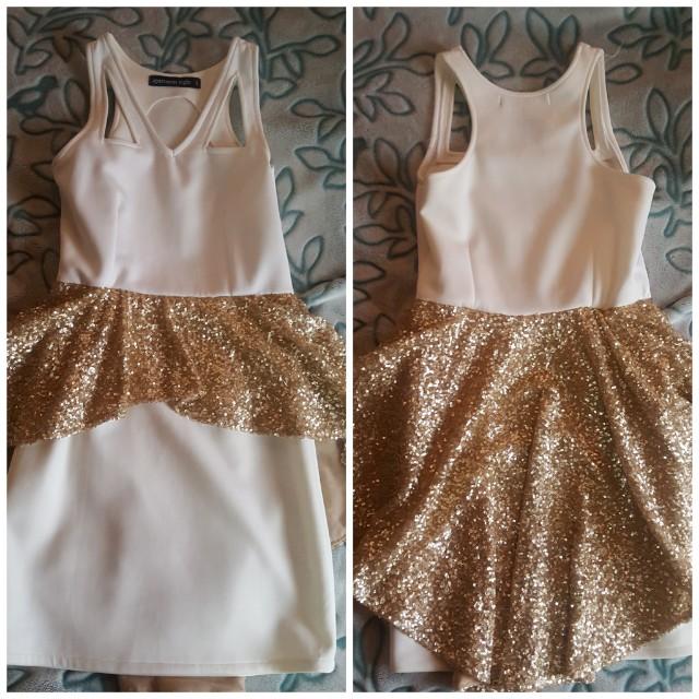 Apartment 8 Peplum White and Gold Dress