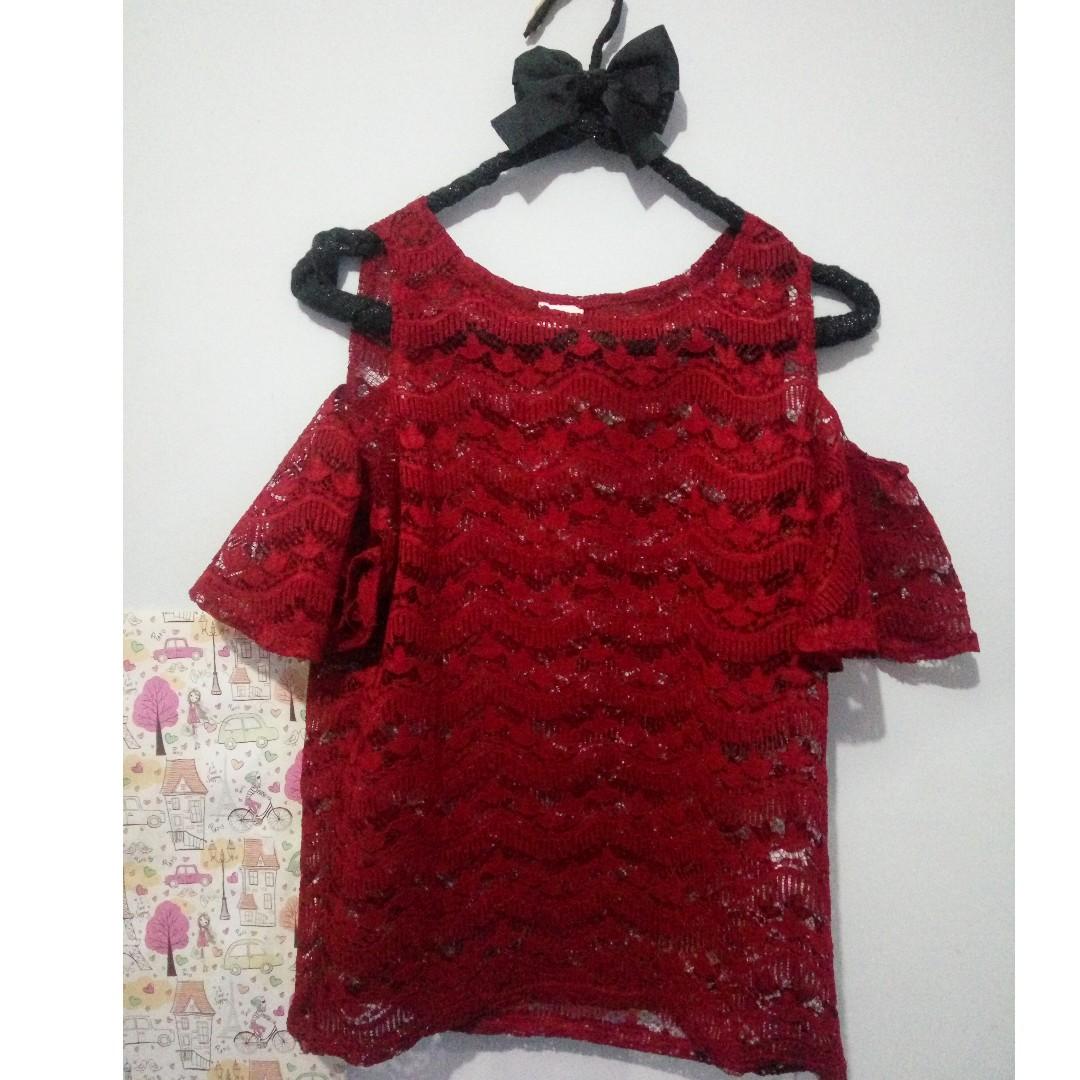 atasan blouse baju brukat merah magnolia