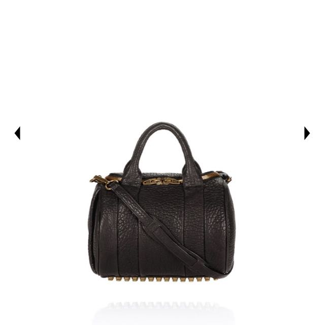 Authentic Alexander Wang ROCKIE IN PEBBLED BLACK WITH ANTIQUE BRASS