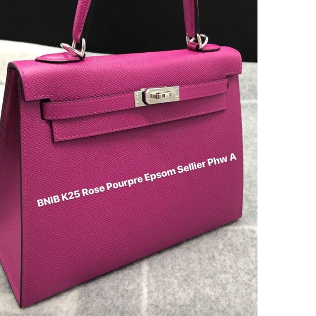 9ca617ff5128 ... free shipping authentic hermes kelly 25 rose pourpre epsom sellier phw  stamp a luxury bags wallets