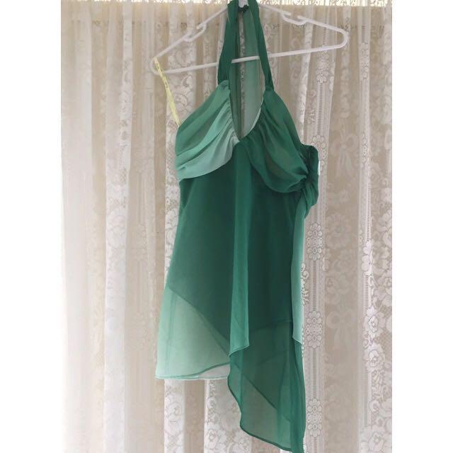 Bardot Green Halter Neck Top