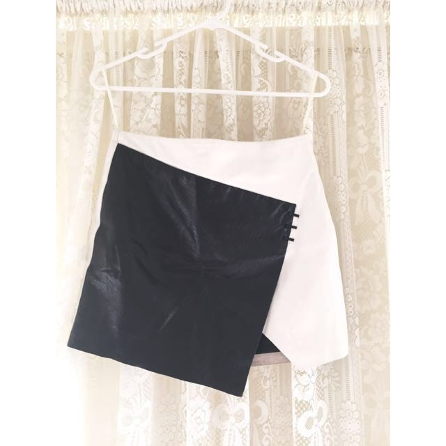 Bec And Bridge - Black And White Leather Skirt