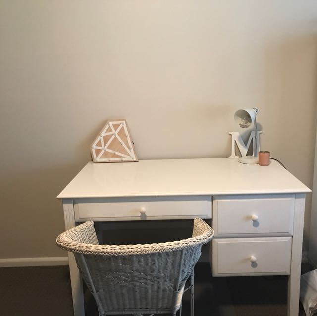 Bed, bedside table and desk