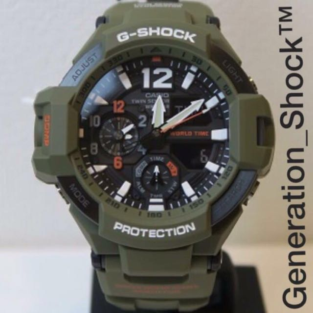 3e7d38b49aa9 BEST SELLING GSHOCK NEW ARRIVAL : 1-YEAR OFFICIAL GSHOCK AGENT WARRANTY : G- SHOCK RESISTANT SKY PILOT DEFIER WATCH COMPASS with Twin Sensors in Army ...