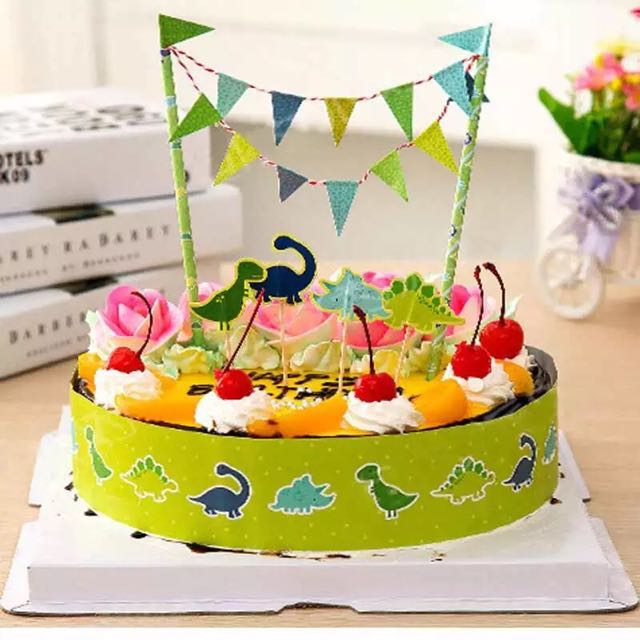 Birthday Bunting Cake Topper Kit Dinosaurs Babies Kids On Carousell