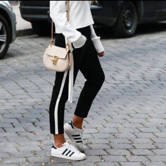 Black & White Topshop Inspired Slim Cut Jogger Pants