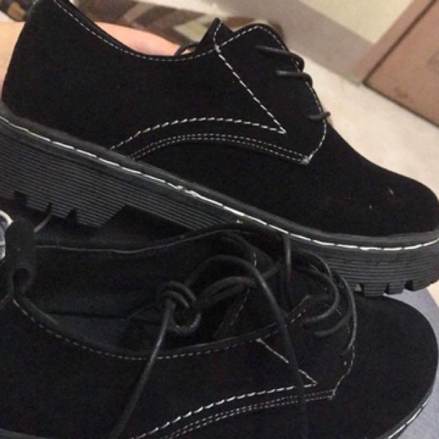 Black Korean-Styled Platform Shoes