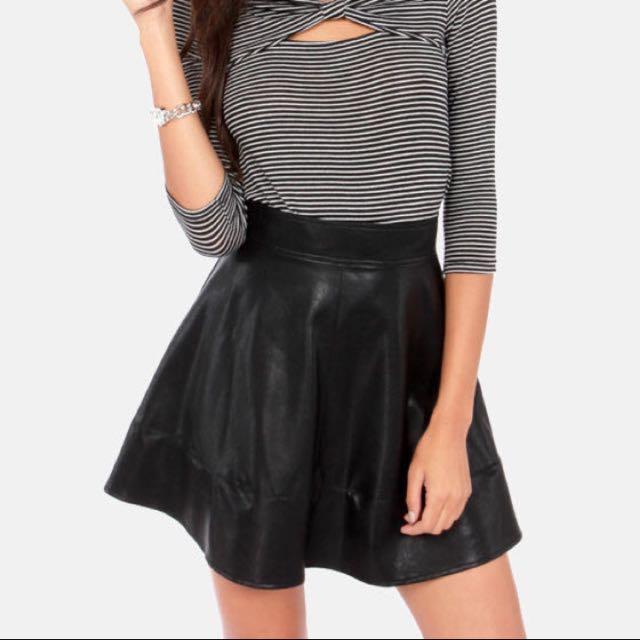 97e68dbfdb Black Leather Skater Skirt, Women's Fashion, Clothes, Dresses ...