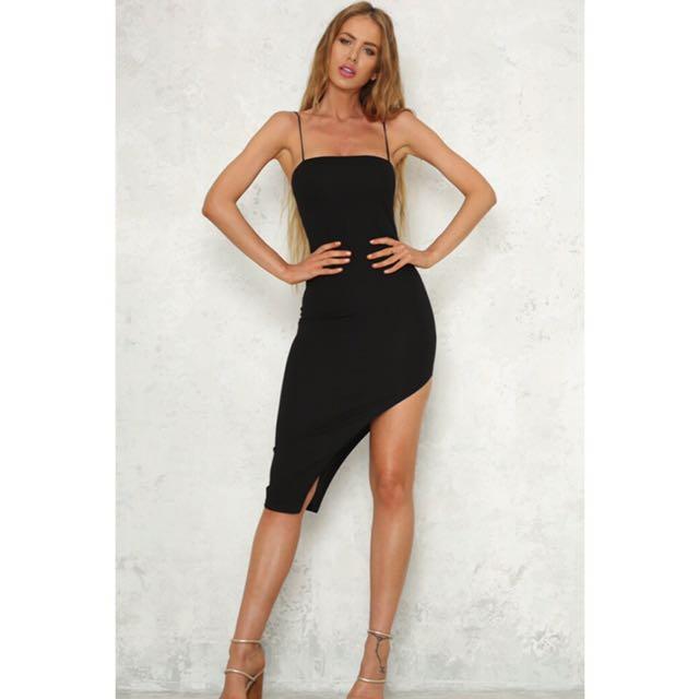 Black midi split dress with straps