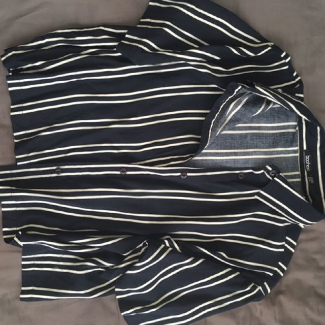 Blue and White Striped Button Up Top