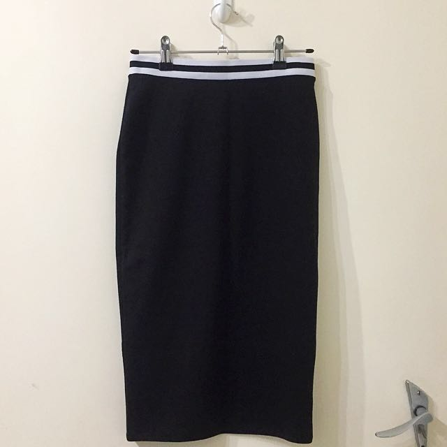 BNWOT Forever21 Black and White Sporty Striped High Waisted Bodycon Midi Skirt