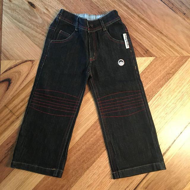 BNWT boys Billy & Bella dark blue denim jeans, size 3