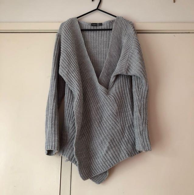 Boohoo Knitted Grey Top