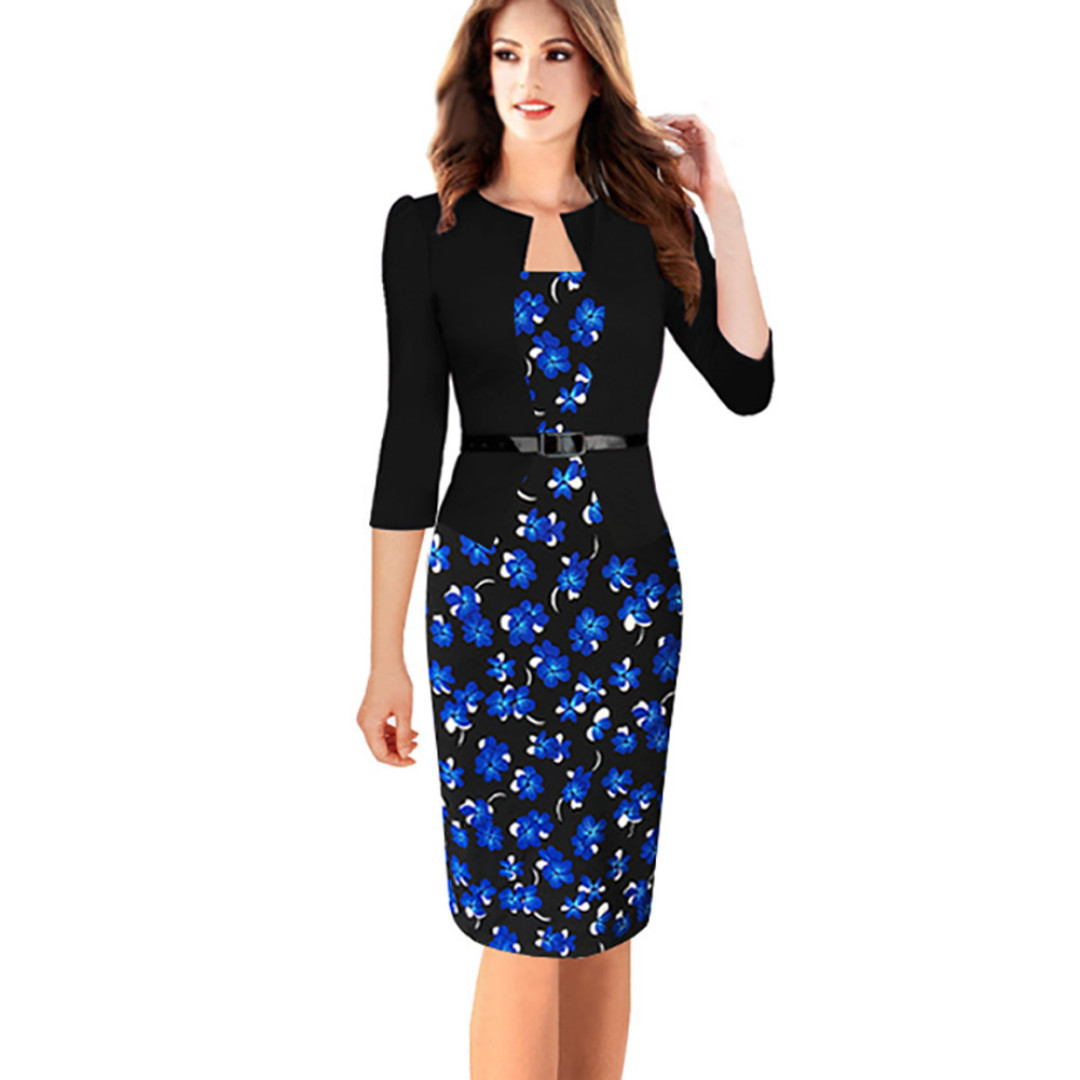Business office one-piece (faux two-piece) short sleeve jacket and dress with belt, black with blue floral print, size Large