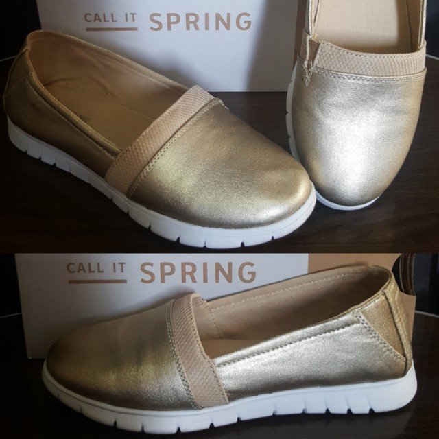 ✌CALL IT SPRING/ALDO Gold Slip Ons