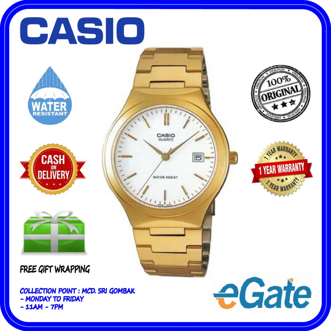 1ecf6e7b5 Casio MTP-1170N-7A Analog Men Date Display White Dial Gold Stainless ...