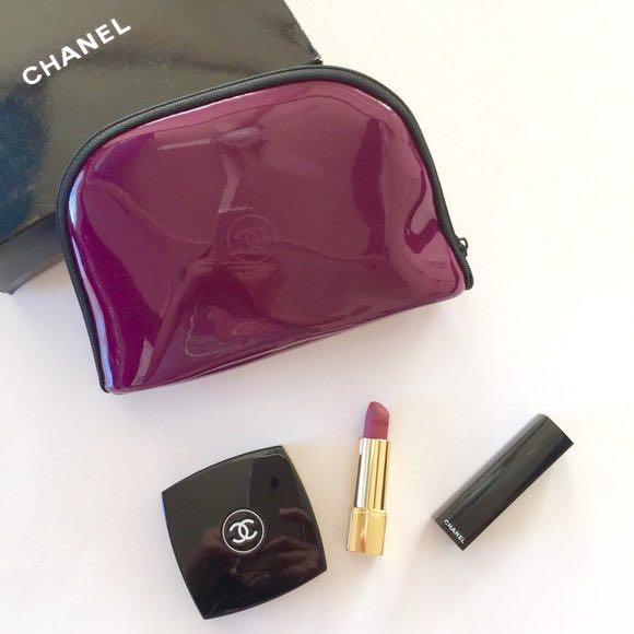 Chanel Limited Edition Cosmetic Makeup & Jewelry Purple/Burgundy Travel Bag