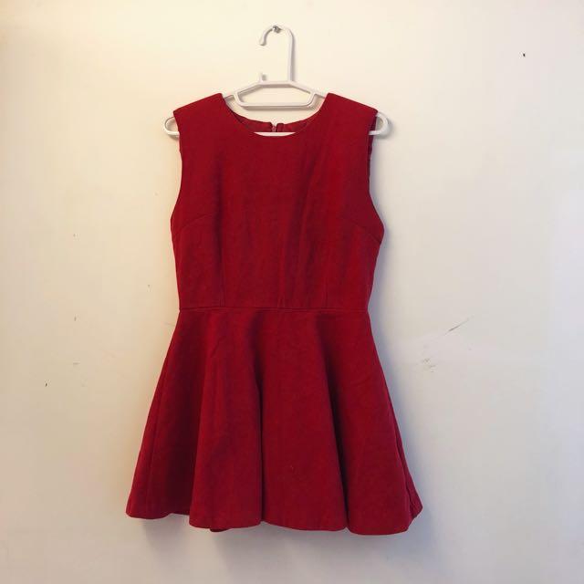 Chloe Chen 高質感 紅色絨質洋裝
