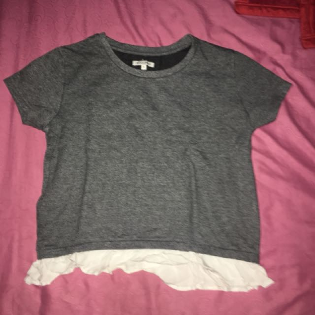 Color Box Korean Style Knit Gray Top