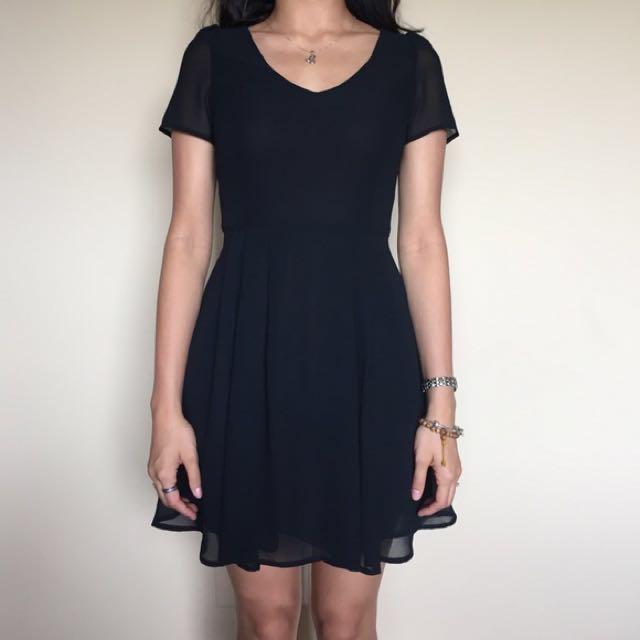 Cotton On Black Chiffon V Neck Dress