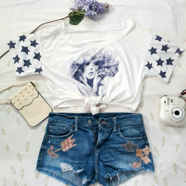 Croptop x Zara Denim Shorts