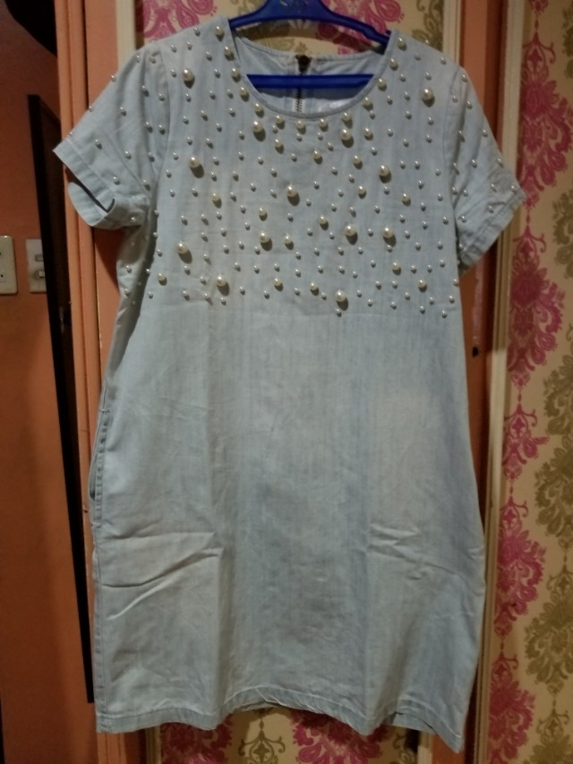 Denim dress with pearls