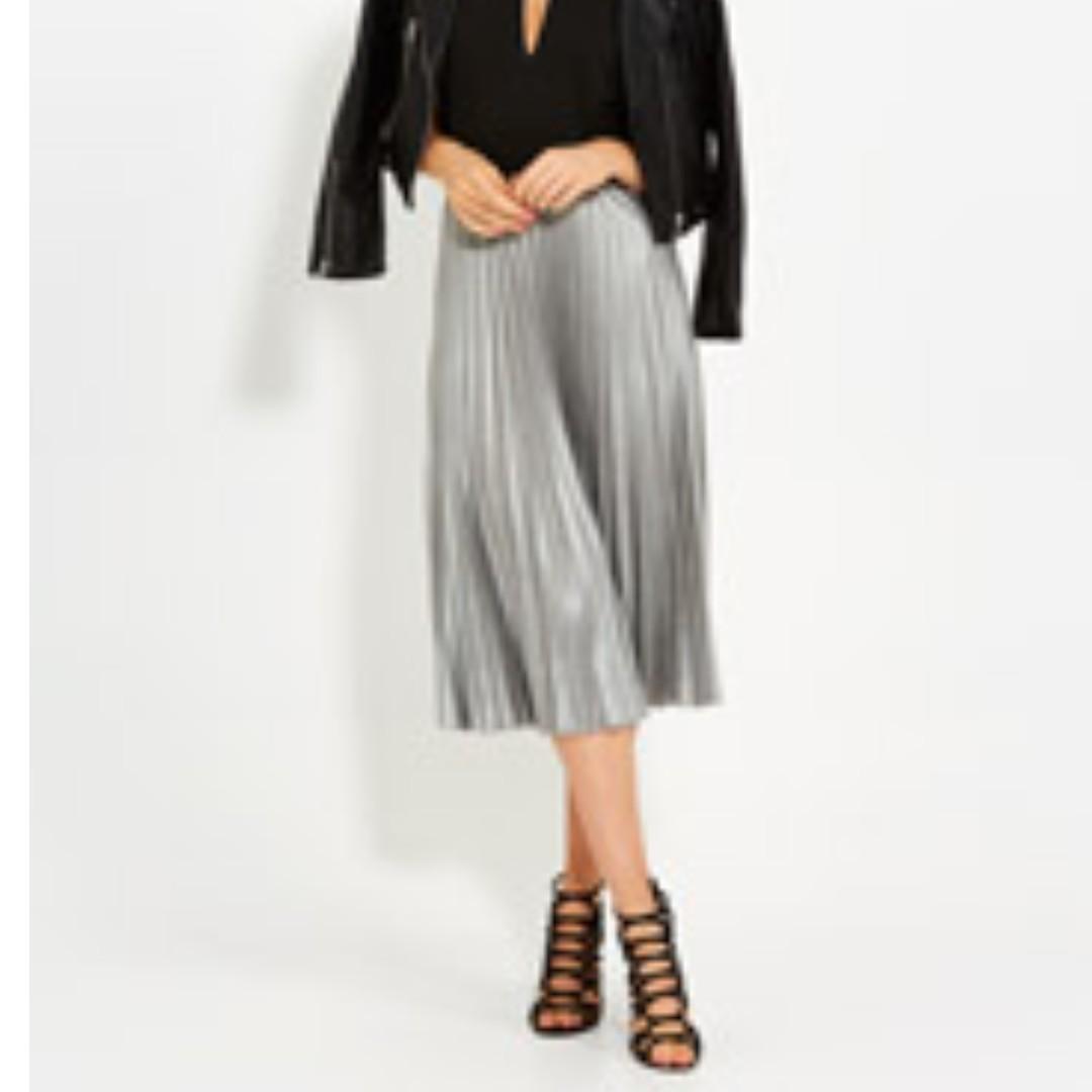 Dotti | Gunmetal Pleat Midi Skirt