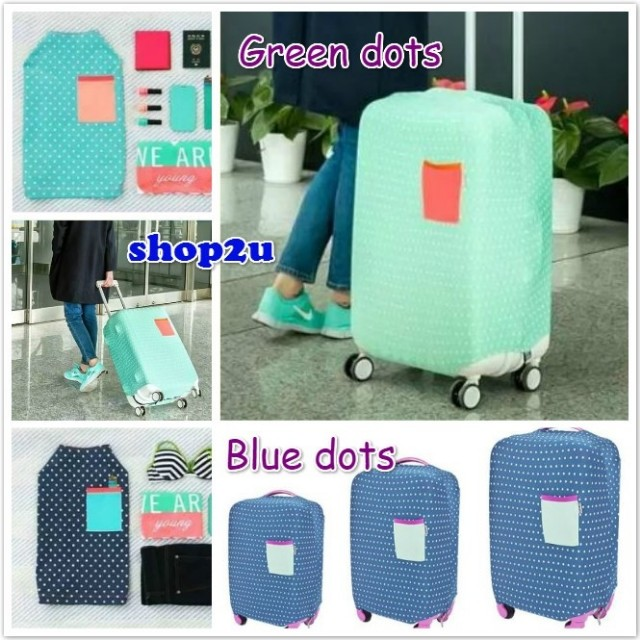 Elastic luggage suitcase protector cover blue and green dots