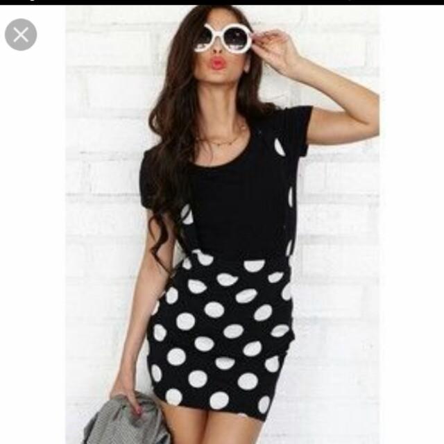 d8b94d1b7c61 F21 Polka Dot suspender skirt overalls
