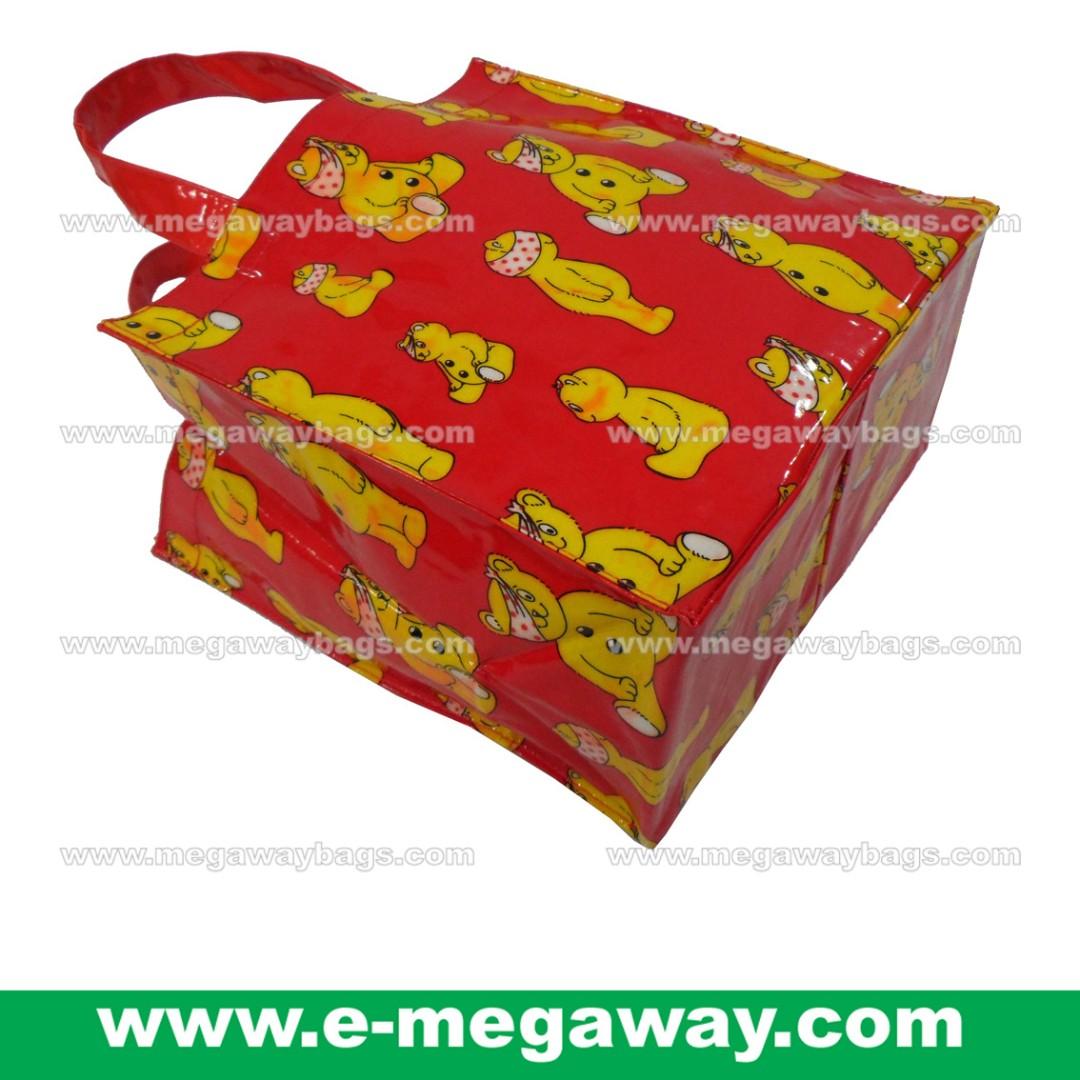 #Small #Tote #Full #Print #PVC #Coated #Water-Repellent #Student #School #Boys #Lunch #Box #LunchBag #Kit #Bag #Kids #Children #Girls #Teenager #Red #Art #Cartoon #Bear #MegawayBags #Megaway #MegawayBags #CC-1543
