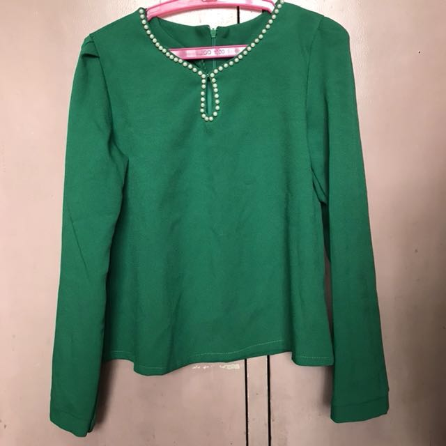 Green Blouse with Faux Pearl neckline