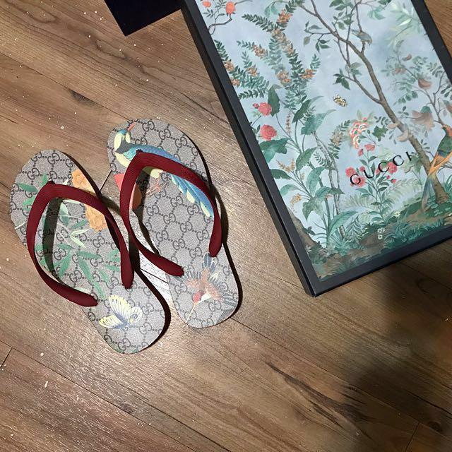 Gucci 鳥 蝴蝶 印花 夾腳拖 夾拖 購於日本專櫃 7號US8-9.5可以穿