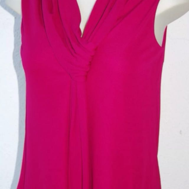 Gucci Magenta Sleeveless Jersey Top Draped Scarf Neckline Size Small