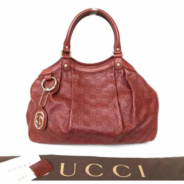 GUCCI Sukey Guccissima Leather Tote in Maroon
