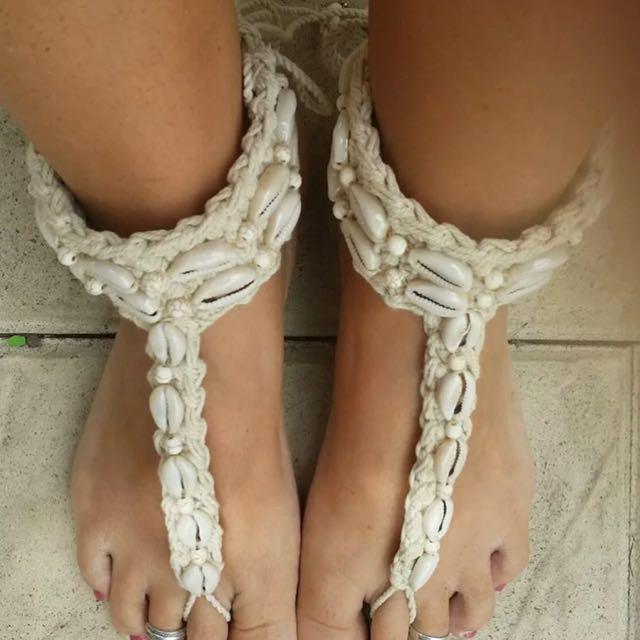 Handmade Barefoot Cowrie Shell Sandals boho festival