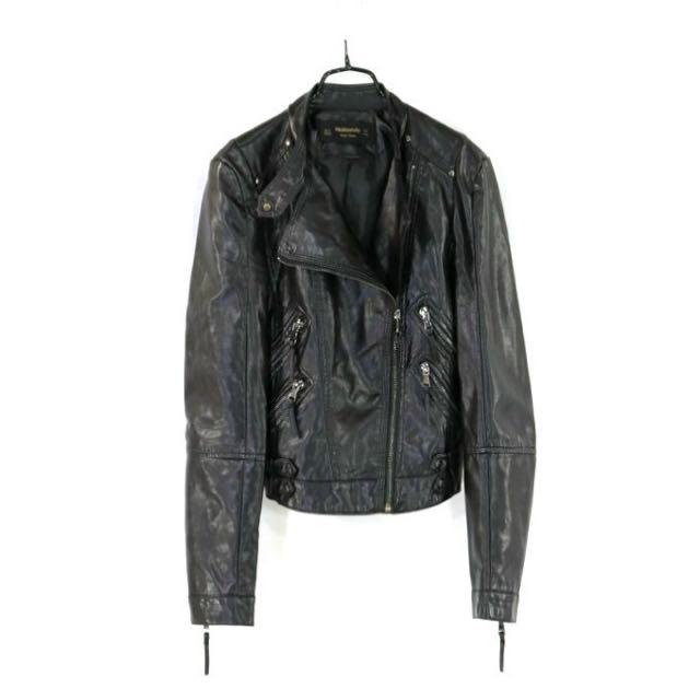 專櫃品牌【hestovrviio】黑色騎士風皮衣