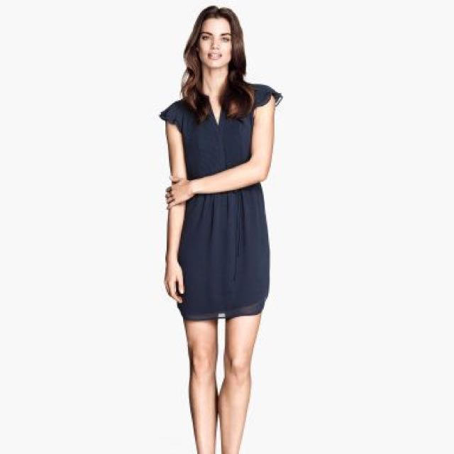 H&M Black Chiffon Dresses with butterfly Sleeves
