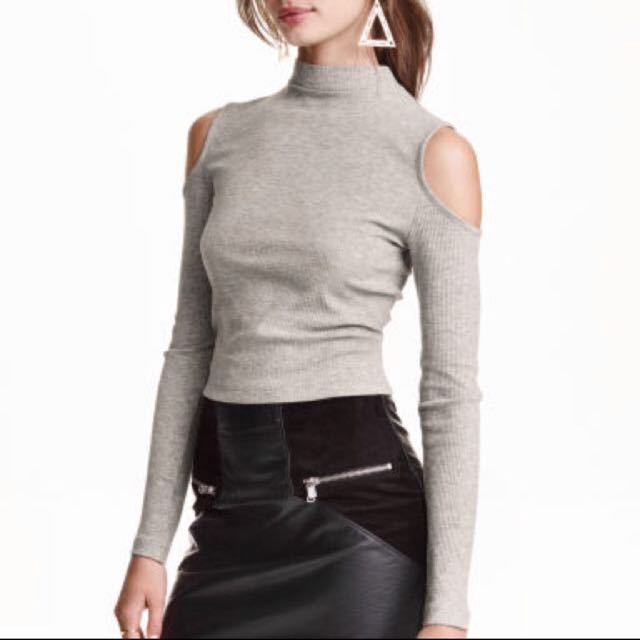 H&M cold shoulder crop top