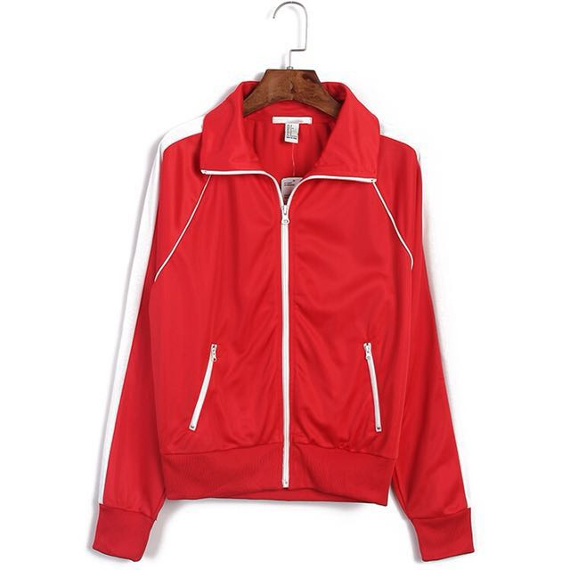 H&M red collared track jacket