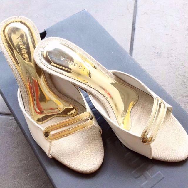 [INC POS - Vincci] White Kitten Heels With Gold Strap.