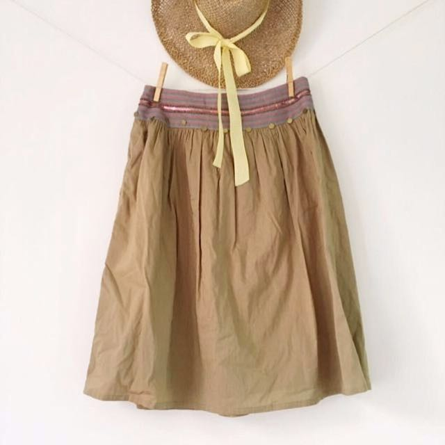 [Island Shop] Isla On The Island - Olive Green Boho Skirt With Embroidered Waistline.