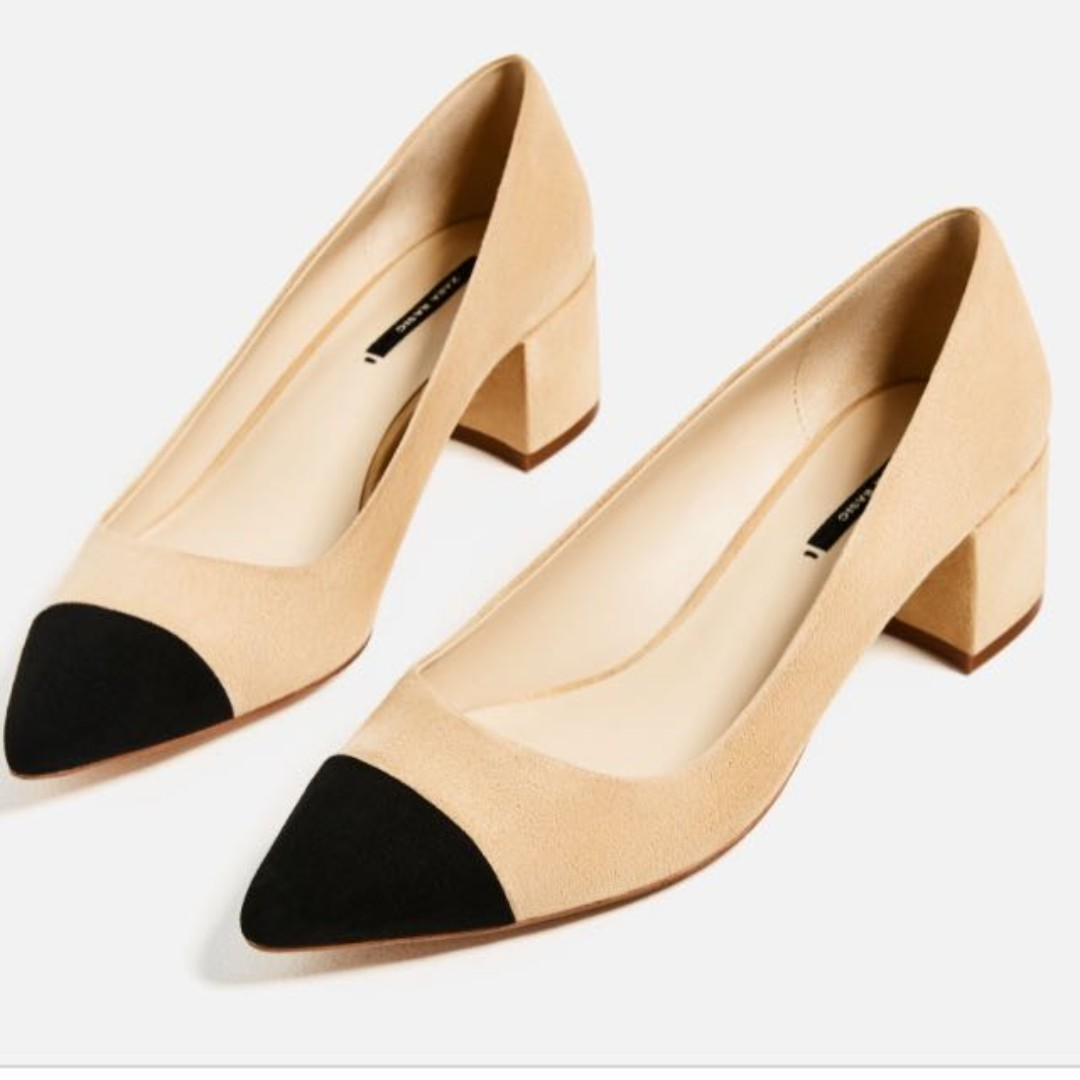 3ac6efdbdf7b Looking for Zara MID-HEEL SHOES WITH CONTRASTING TOE CAP Chanel Dupe ...