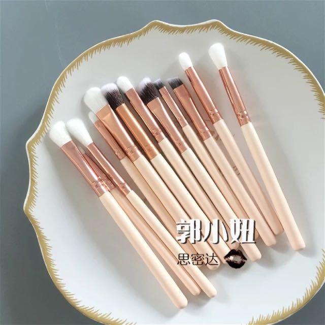 Luxury rose gold makeup brush set of 12 eyeshadow brush lip liner