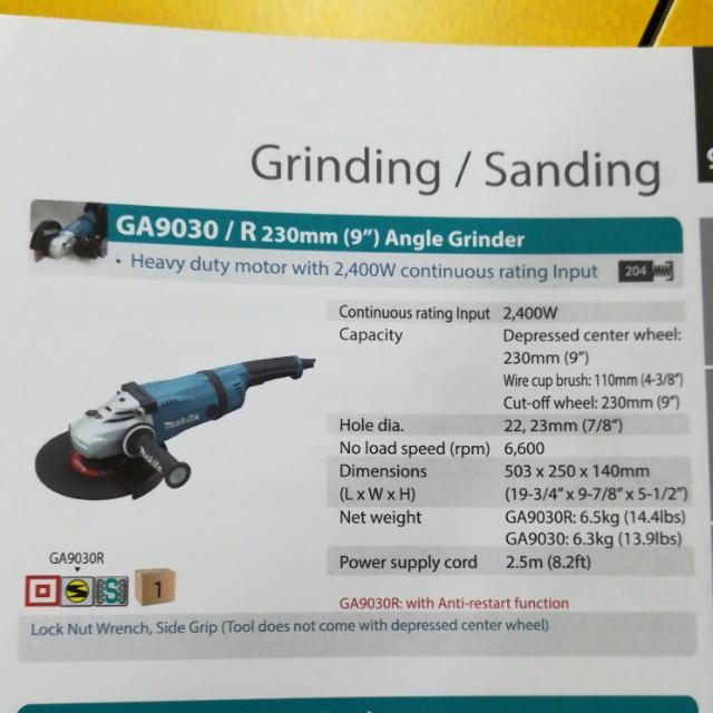 """Makita GA9030 9"""" Angle Grinder"""
