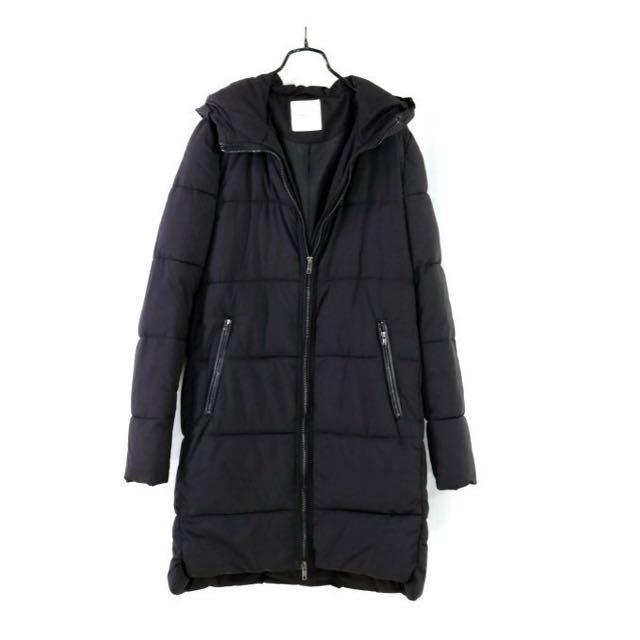 西班牙【MANGO】黑色舖棉連帽長大衣XS